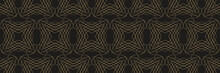 Tiled Background And Pattern With Geometric Ornament On A Black Background. Seamless Pattern, Texture. Repeating Wallpaper For Your Design. Vector Illustration