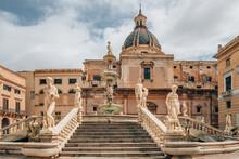 The Praetorian Fountain Or Fontana Pretoria In Palermo, Sicily, Italy