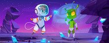 Cute Spaceman And Alien Characters On Planet At Night. Vector Cartoon Landscape With Rocks, Blue Crystals, Stars In Sky, Boy Astronaut In Spacesuit And Green Extraterrestrial