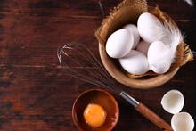 Fresh Organic Eggs On Wooden Table