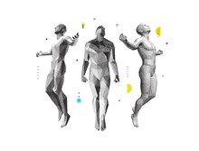 Men Floating And Hovering In The Air. Meditating Concept. 3d Vector Illustration.