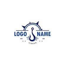 Hook With Compass Logo Vector For Fishing Club & Community, Fish Hunting Equipment Shop & Store Brand, Sailing Boat & Ship Tools Supllier Business Company. Fishhook Sign, Symbol Wall Decoration