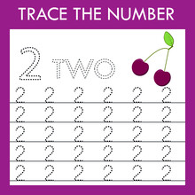 A Game Of Tracing The Outlines Of The Number Two With Funny Cherry. Preschool Worksheet, Kids Activity Sheet, Printable Worksheet