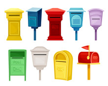 Retro Mailboxes For Correspondence Set. Post Boxes For Paper Letters Flat Vector Illustration