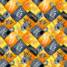 Seamless Pattern With Plants, Autumn Leaves, Twigs On A Patchwork Background. Hand Drawn Watercolor Illustration, Digital Paper. Halloween Design, Thanksgiving