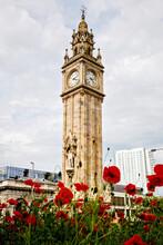 Little Big Ben In Belfast, Albert Memorial Clock Tower On Sunny Day With Blue Sky. Ireland
