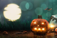 Halloween Pumpkin With Spiders In Darkness In Forest With Moon