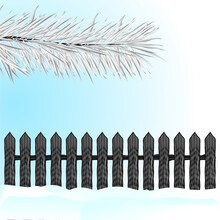 Christmas Card With Fir Branches, Wooden Fence, Snow. Vector Illustration.