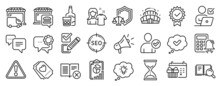 Set Of Business Icons, Such As Whiskey Glass, Megaphone, Online Voting Icons. Love Ticket, Food Market, Seo Signs. Report, Approved, Arena Stadium. Certificate, Warning, Search Book. Vector