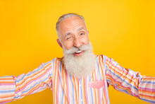 Photo Of Attractive Funny Mature Man Dressed Yellow Shirt Winking Tacking Selfie Smiling Isolated Yellow Color Background