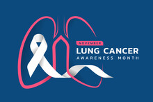 November, Lung Cancer Awareness Month Text And Pink Drawing Line Lung Symbol With White Ribbon Around On Blue Background Vector Design