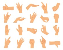 Different Hand Gestures. Hands Gesture Collection, Arms Pressed Position. Fingers Signal, Diverse Manual Poses Of Language Decent Vector Set