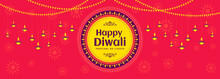 Happy Diwali Festival Banner Design With Decoration Of Hanging Illuminated Oil Lamps And Lights On Beautiful Pinkish Red Background For Diwali Celebration.