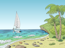 Sea Coast Graphic Yacht Sea Bay Color Landscape Sketch Illustration Vector