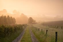 Limburg Farmland In Foggy Spring Sunrise
