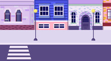 Colorful Old Town Street With Buildings, Houses, Street Lights, Road, Pavement. Home Facades With Asphalt Road In Front. Vector Illustration. Cartoon Style. Horizontal Background.