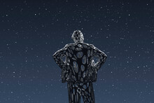 Three Dimensional Render Of Wireframe Man Admiring Starry Sky At Night