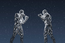 Three Dimensional Render Of Two Wireframe Men Preparing To Fight Against Starry Sky At Night