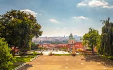 Plecnik Viewpoint At Prague Castle - City Landscape With Church Of Saint Nicholas, Czech Republic