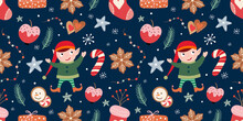 Christmas Seamless Pattern With Elf,  Winter Background With Seasonal Elements, Wallpaper, Surface Design