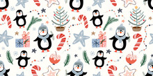 Christmas Seamless Pattern With Cute Penguins, Festive Background, Gift Paper, Winter Surface Design