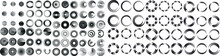 Mega Set Of Lines In Circle Form . Spiral Vector Illustration .Big Collection Of Round Logos . Design Element . Abstract Geometric Circular Shapes .Rotating Radial Lines Collection. Concentric Circles