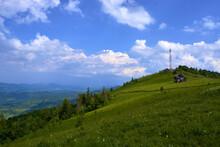 Landscape Shot Of Carpathian Mountains Against A Cloudy Blue Sky