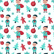 Christmas Seamless Pattern With Elves, Candy, Socks, Christmas Toys, Pattern For Decor, Gift Paper And Packaging