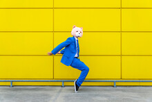 Man Wearing Vibrant Blue Suit And Bear Mask Standing En Pointe Against Yellow Wall