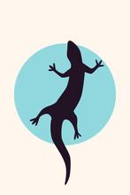 Lizard Raptor Silhouette Minimalist Boho Icon Poster