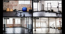 Composite Of Views From Four Security Cameras In Different Areas At A Gym
