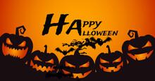 Image Of Halloween Greetings Adn Bats Over Jack O Lantern On Orange Background