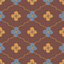 Medieval Rose Ogee Vector Pattern Background. Azulejo Tile Style Backdrop Of Hand Drawn Flowers With Geometric Gridlines In Ochre Orange Red Blue. Deocrative Moorish Design. Arabesque Repeat.