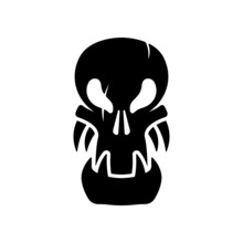 Skull Icon. Black Silhouette. Front View. Vector Simple Flat Graphic Illustration. The Isolated Object On A White Background. Isolate.