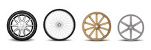 Set Of Realistic Wheels: Car Tire, Rim, Mountain Bike Wheel And Old Wooden Wheel For Cart