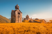 The Chapel And Bell Tower Stand Alone On The Territory Of The Haghpat Monastery In Armenia. Sightseeing And Pilgrimage Concept