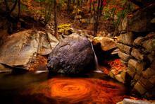 Breathtaking Shot Of A River In A Forestfull Of Colorful Leaves In Autumn In Korea