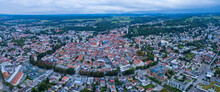 Aerial View Around The City Ravensburg In Germany On A Cloudy Day In Summer