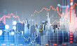 canvas print picture - New York city skyscraper downtown panoramic view and financial chart