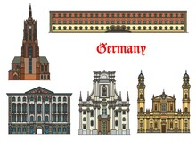 Germany, Munich Architecture Buildings And Travel Landmarks, Vector. Preysing Palace And Bavarian State Library, St Cajetan Theatine And Trinity Church, Saint Bartholomew Cathedral Dom In Munchen