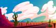 Arizona desert landscape with asphalt road, rocks and cacti. Wild west highway in American canyon, hot sand deserted land with orange mountains. Summer western background Vector cartoon illustration