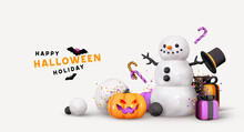 Happy Halloween Background. Realistic 3d Design Objects Snowman, Gifts Boxes. Orange Pumpkins With Emotion On His Face Scary Smile. Creative Holiday Banner, Web Poster. Vector Illustration