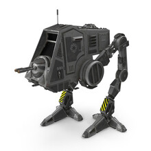All Terrain Personal Transport Clean Robotic Walker Isolated On White 3D Illustration