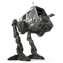 All Terrain Personal Transport Clean Front Robotic Walker Isolated On White 3D Illustration