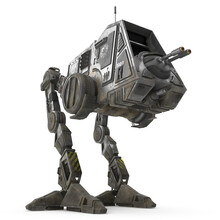 All Terrain Personal Transport Dirt Front Robotic Walker Isolated On White 3D Illustration