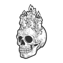 Candle Stubs On The Skull Sketch Engraving Vector Illustration. Halloween Illustration. T-shirt Apparel Print Design. Scratch Board Imitation. Black And White Hand Drawn Image.