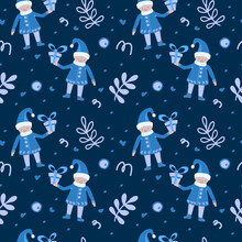 Festive Elements Seamless Pattern. Gnomes With Gifts, Mistletoe Branches And Confetti. Christmas. New Year. Suitable For Textiles And Packaging.