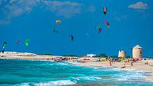 Lefkada Mils In The Small Sea Beach Kite Surf