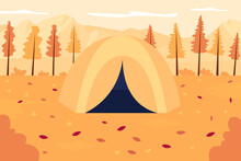 Autumn Outdoor Recreation Flat Color Vector Illustration. Tent In Seasonal Scenery. Expedition To Fall Woods. Seasonal Hiking. Autumnal 2D Cartoon Landscape With No People On Background