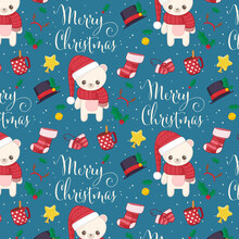 White Polar Bear Pattern For Christmas Paper
